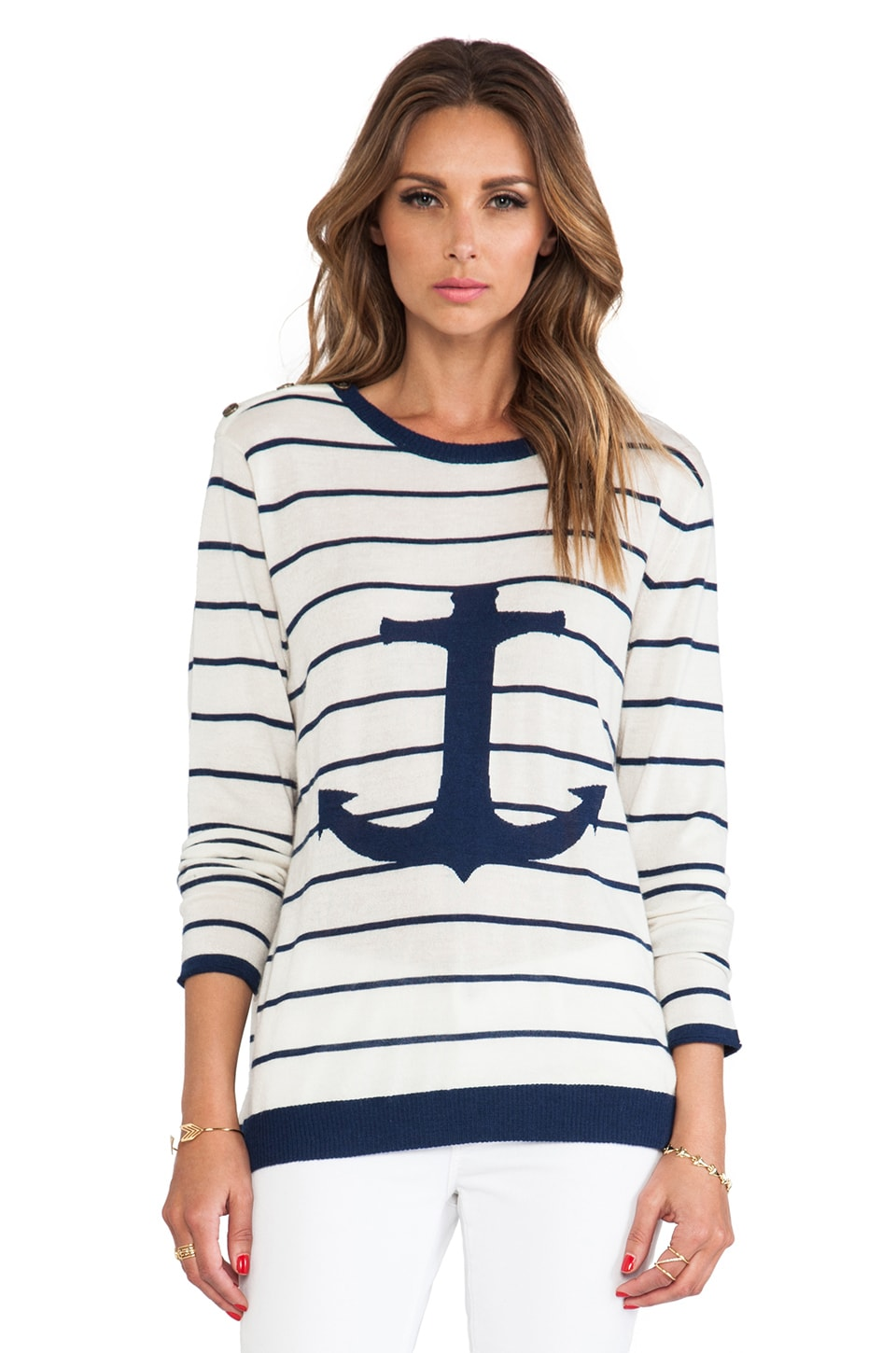 Banjo & Matilda Anchor Crew Sweater in Ivory & Navy