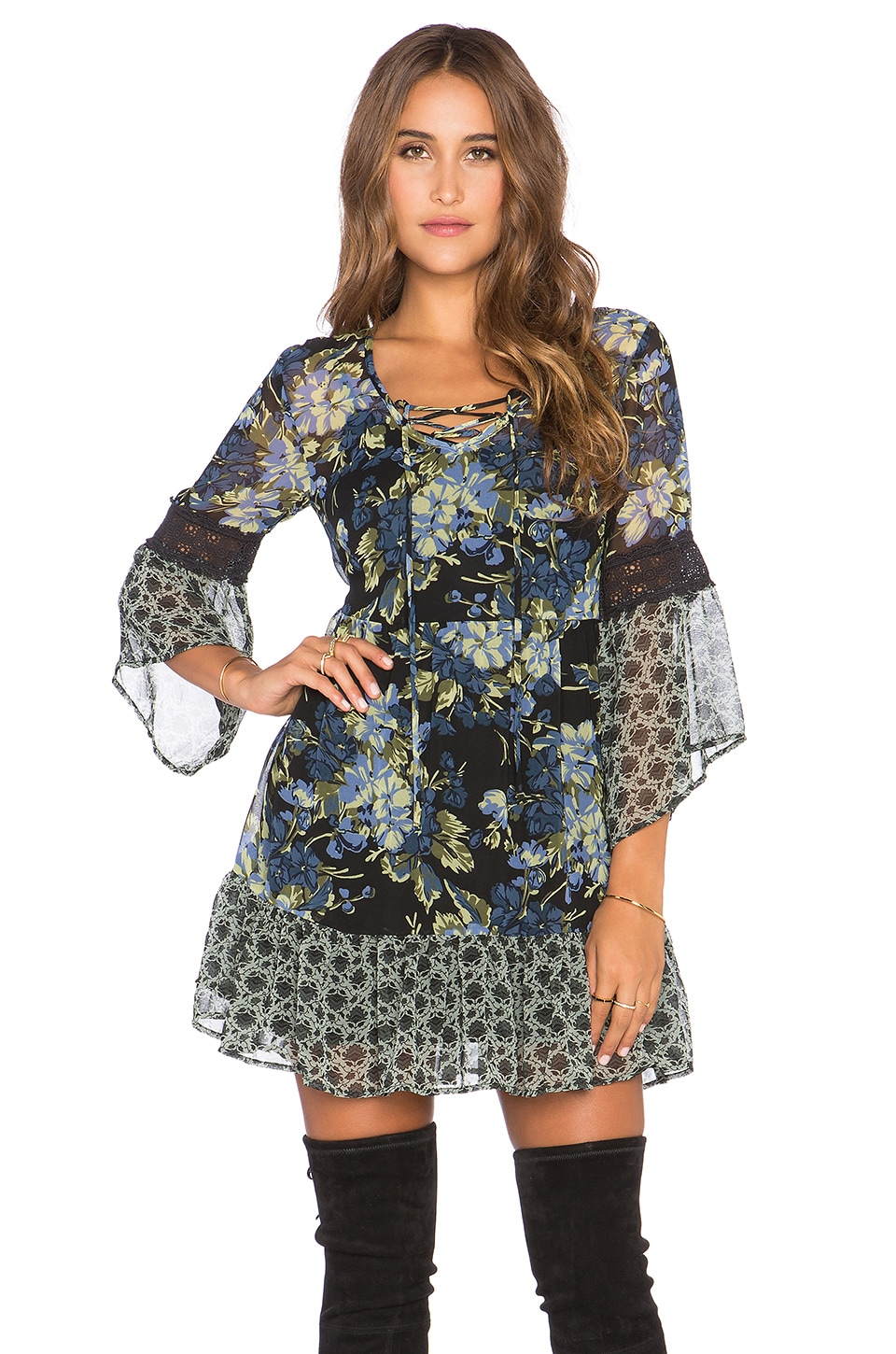 Band of Gypsies Lace Front Mini Dress in Black & Peri