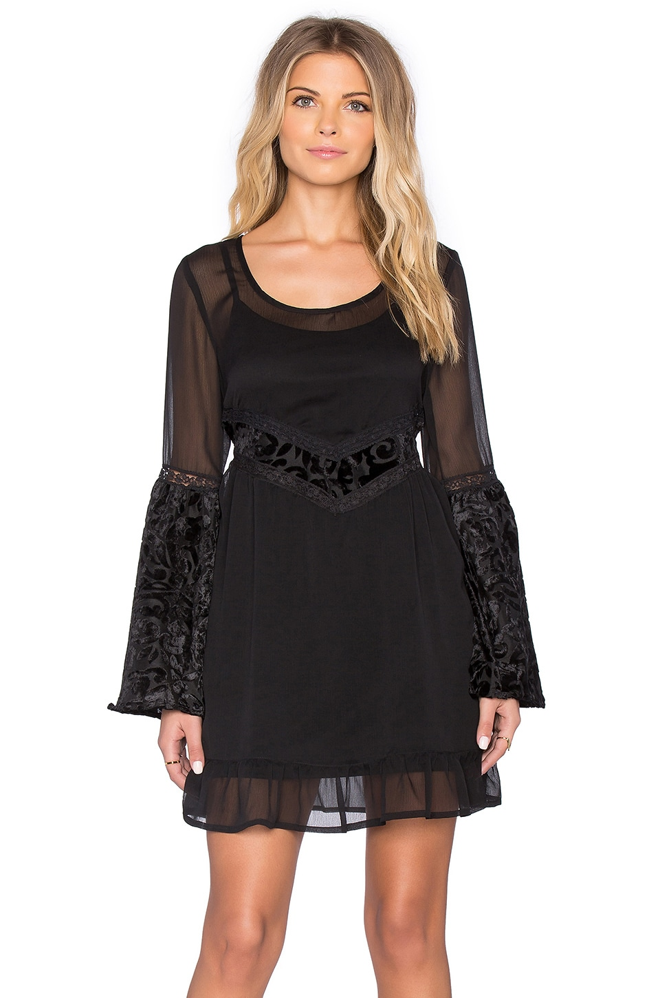Band of Gypsies Baroque Mini Dress in Black