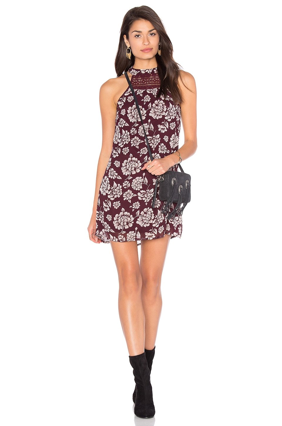 Band of Gypsies Vintage Floral Shift Dress in Burgundy & Ivory