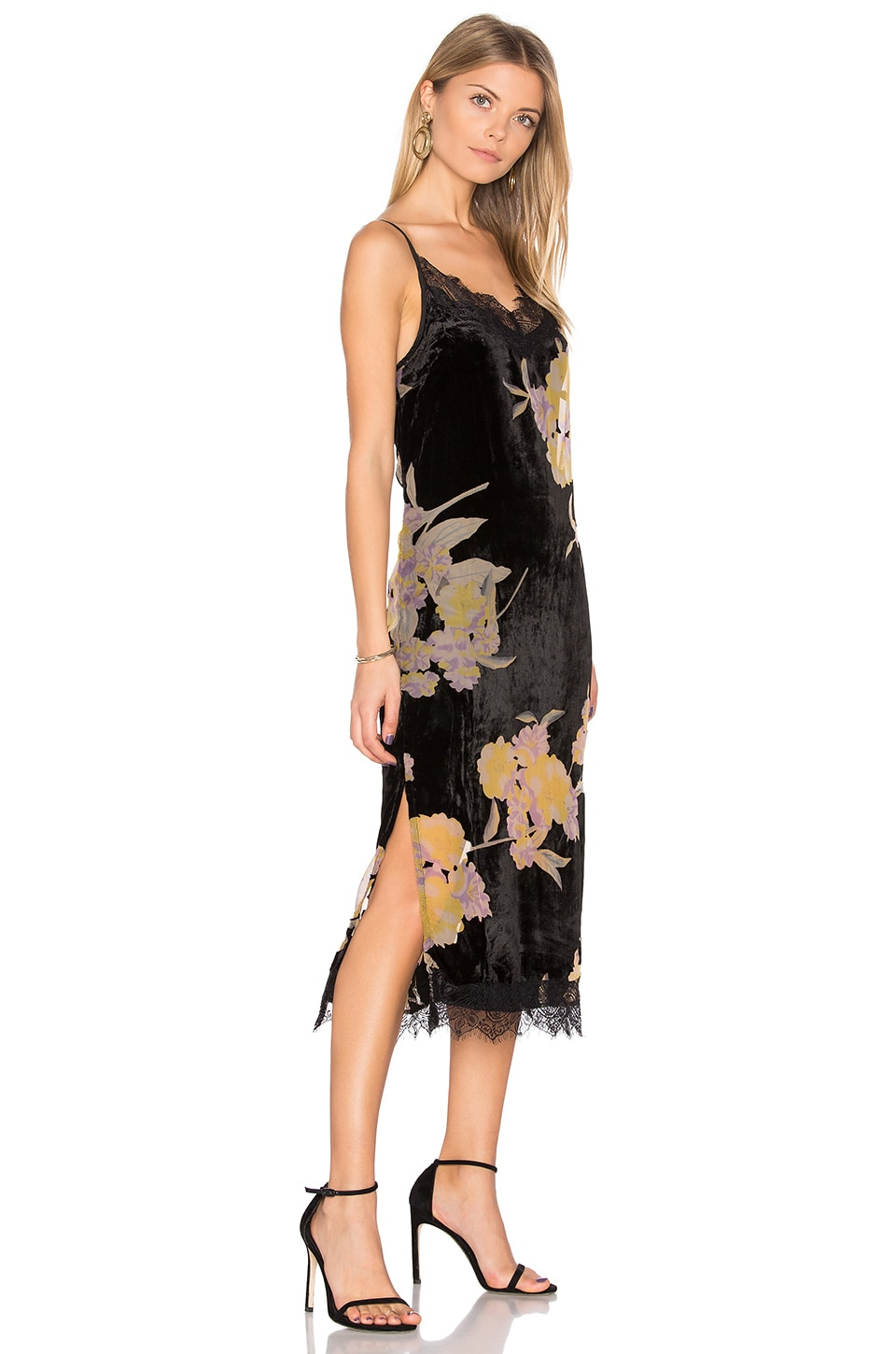 Band of Gypsies Burnout Velvet Midi Dress in Black & Yellow