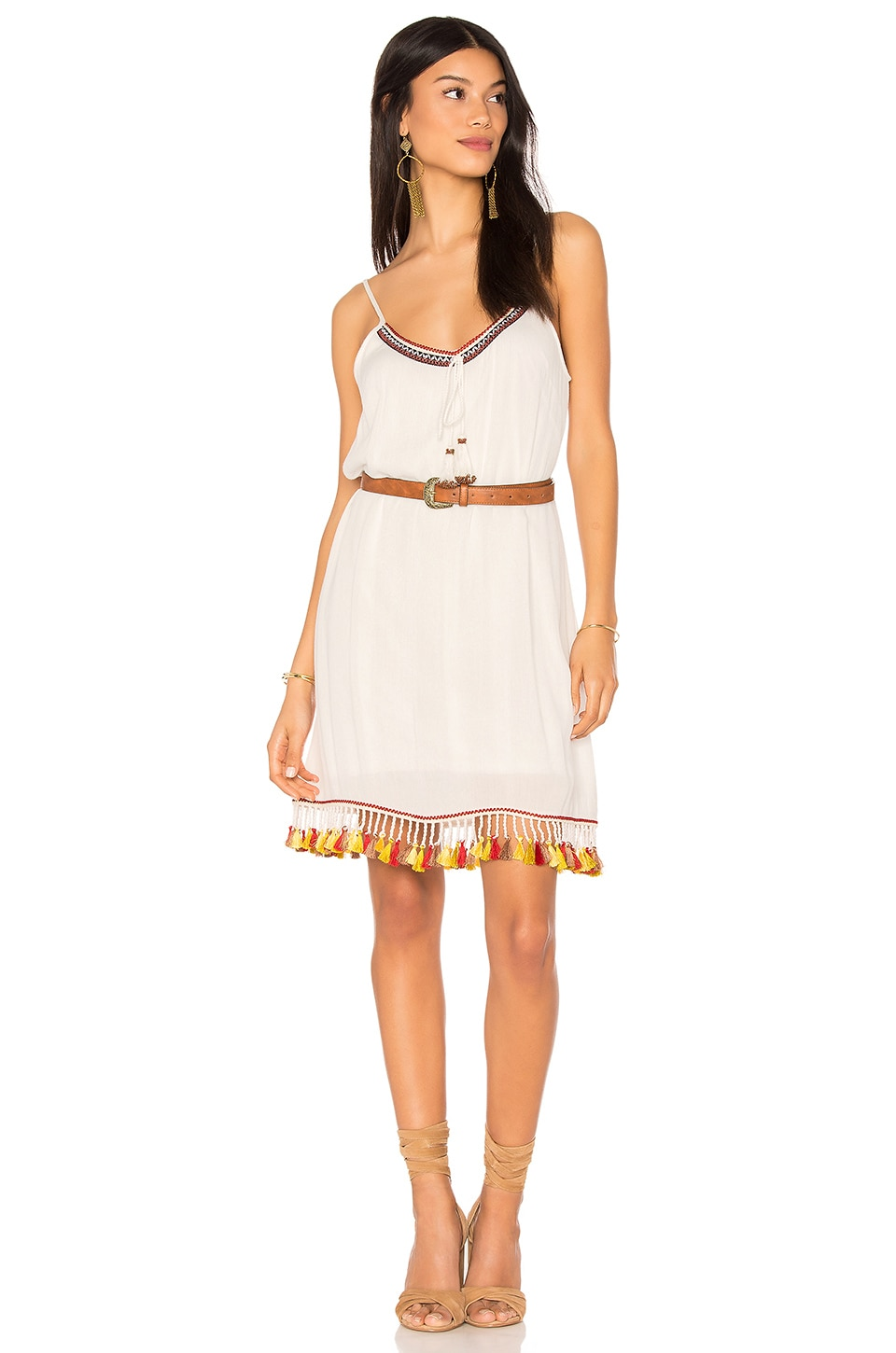 Band of Gypsies Tassel Trim Belted Shift Dress in Ivory & Rust