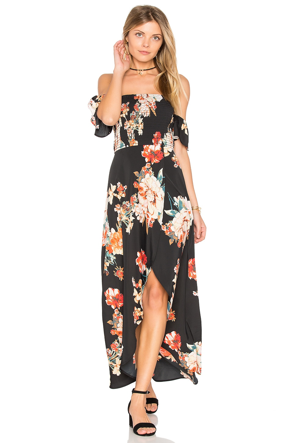 Band of Gypsies Large Floral Maxi Dress in Black & Coral