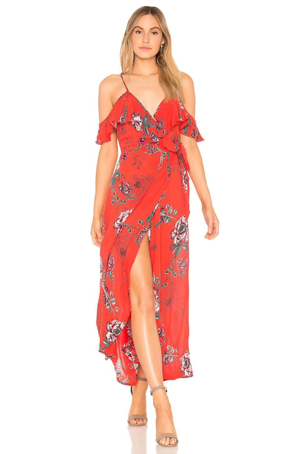Band of Gypsies Shadow Floral Faux Wrap Dress in Red Peach