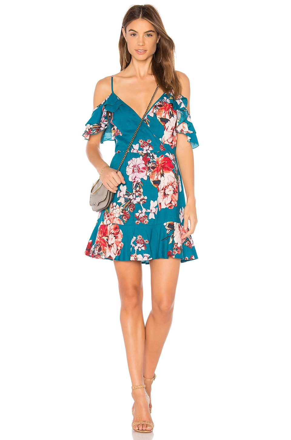 Band of Gypsies Large Floral Ruffle Hem Dress in Teal & Peach