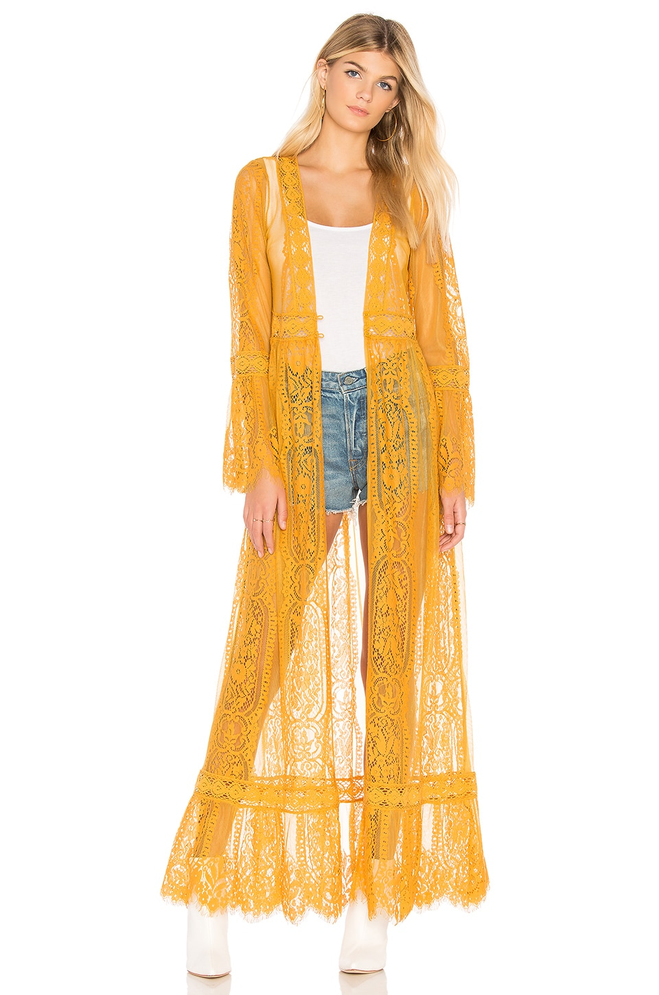 Band of Gypsies Lace Bell Sleeve Duster in Mustard