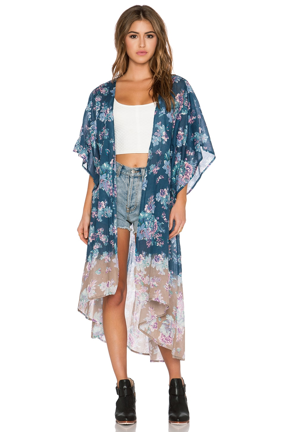 Band of Gypsies Floral Kimono in Purple Multi