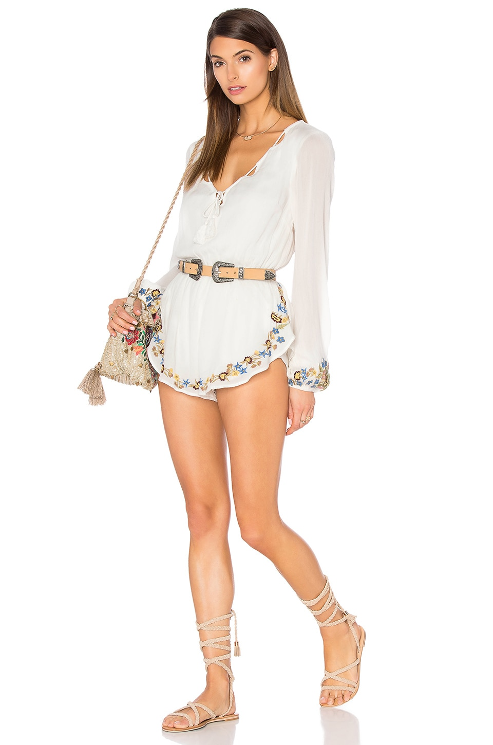 Band of Gypsies Embroidered Romper in Ivory & Yellow