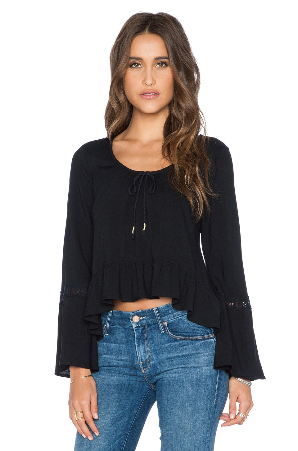 Band of Gypsies Bell Sleeve Crop Top in Black