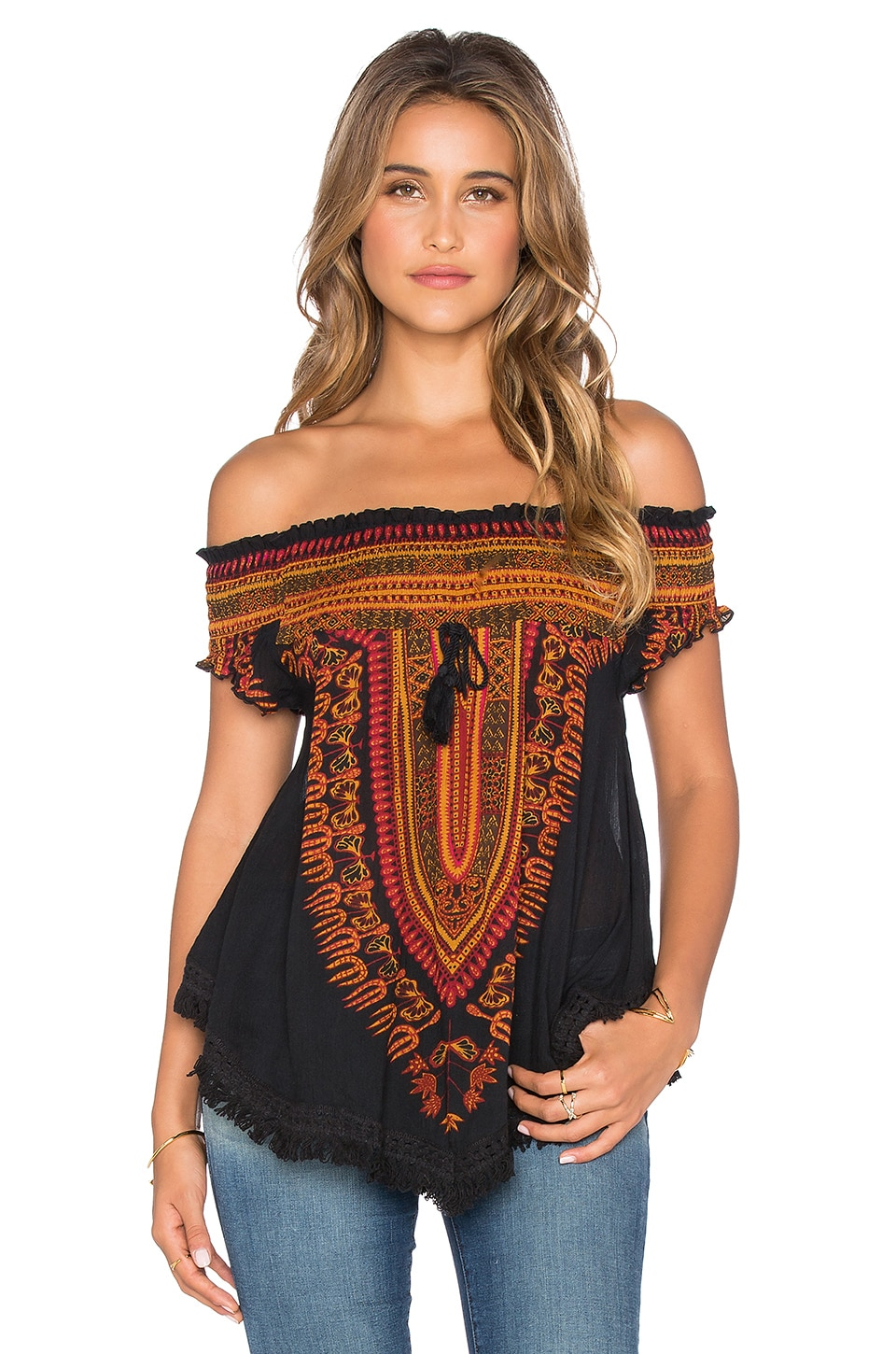 Band of Gypsies Patterned Off Shoulder Top in Black & Red & Gold