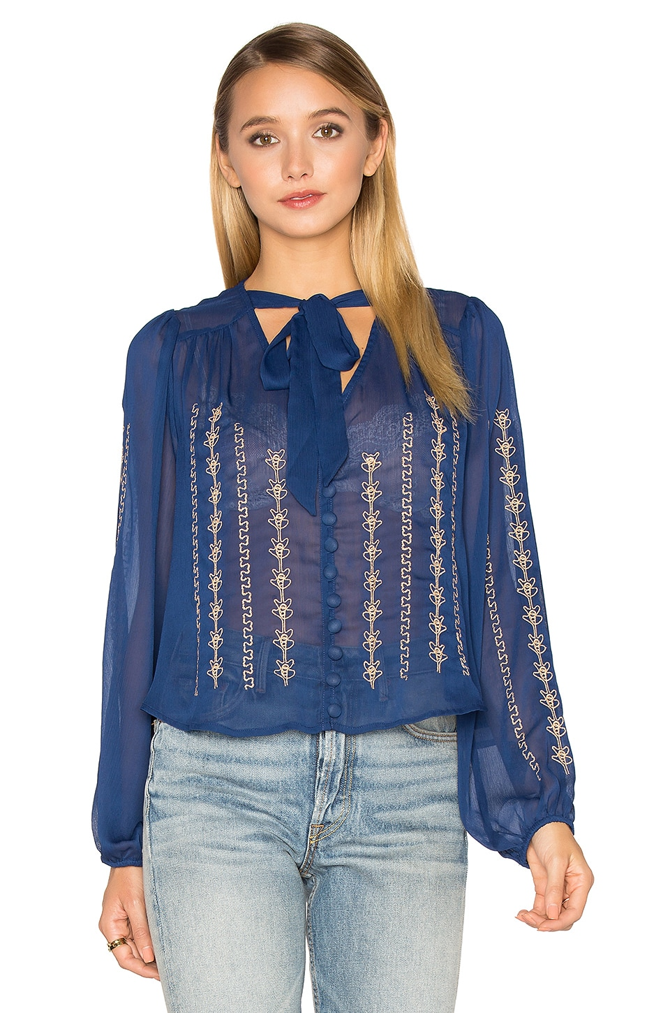 Band of Gypsies Embroidered Blouse in Royal & Gold