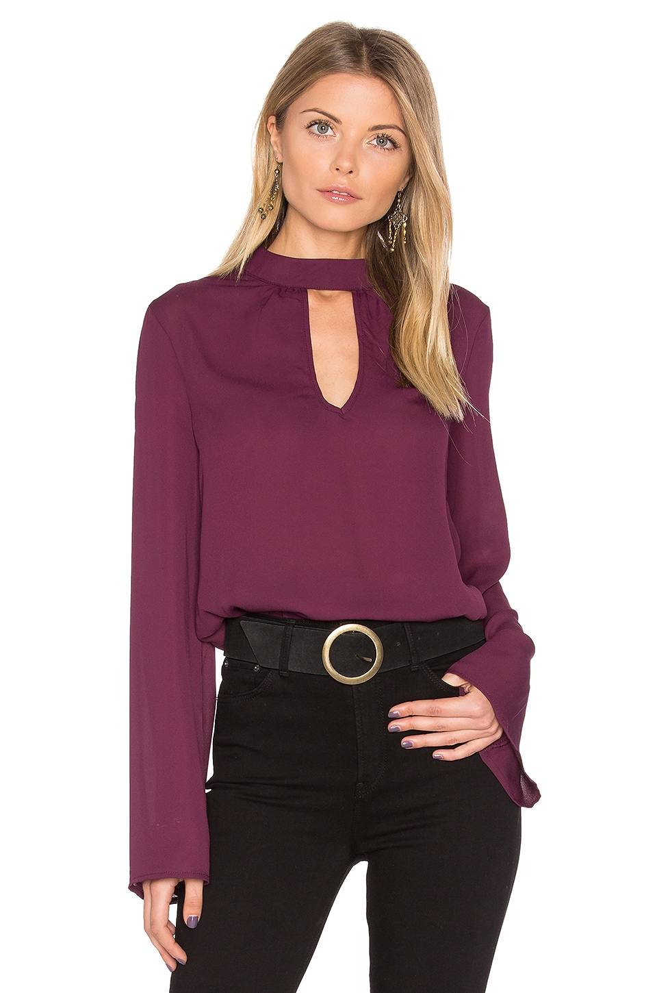 Band of Gypsies High Neck Blouse in Mulberry