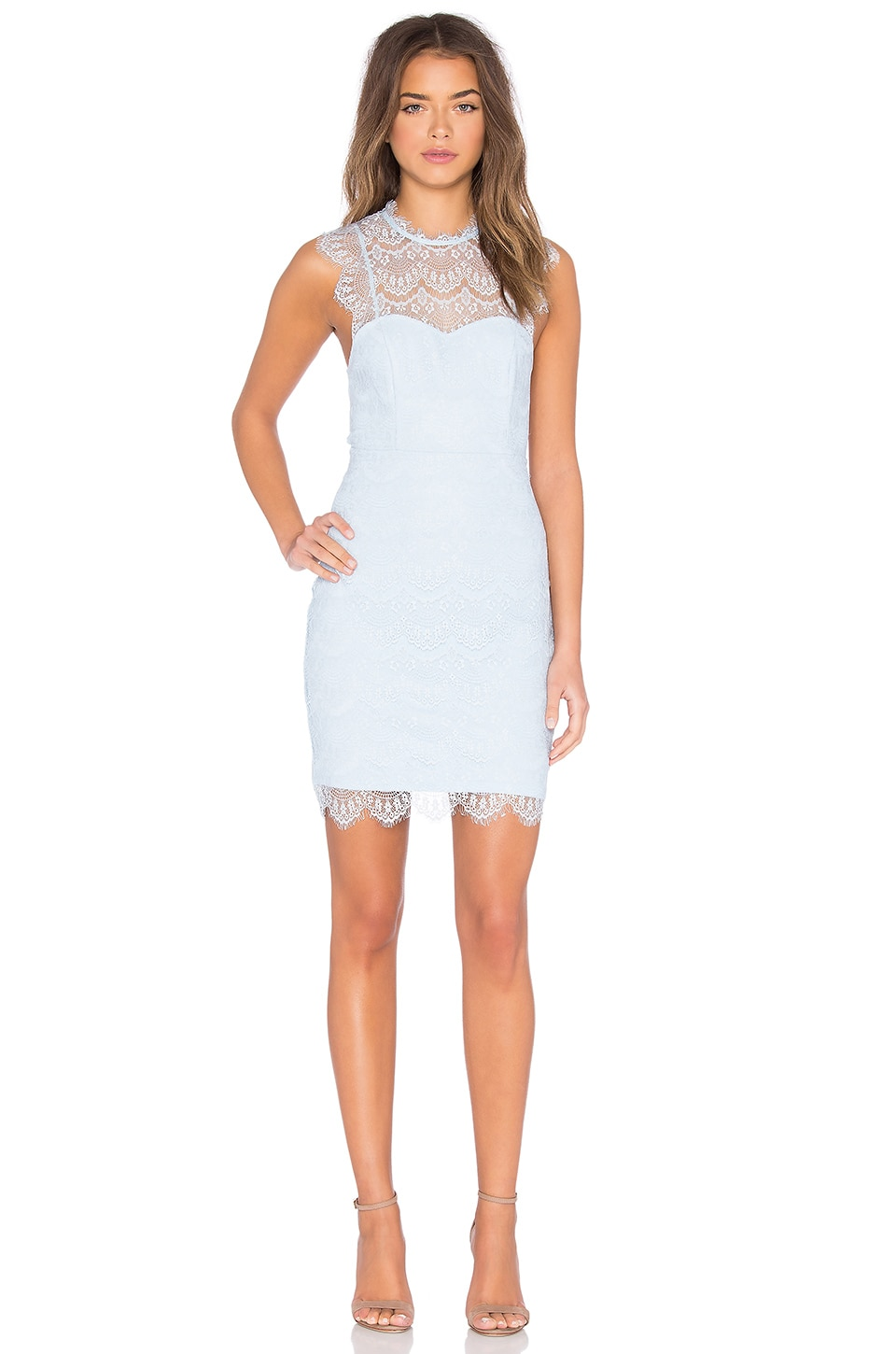 Bardot Braxton Lace Mini Dress in Lake