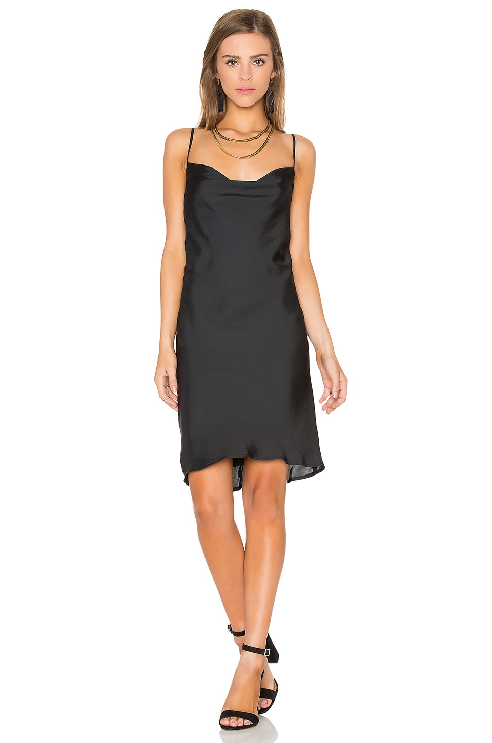 Bardot Strappy Slip Dress in Black