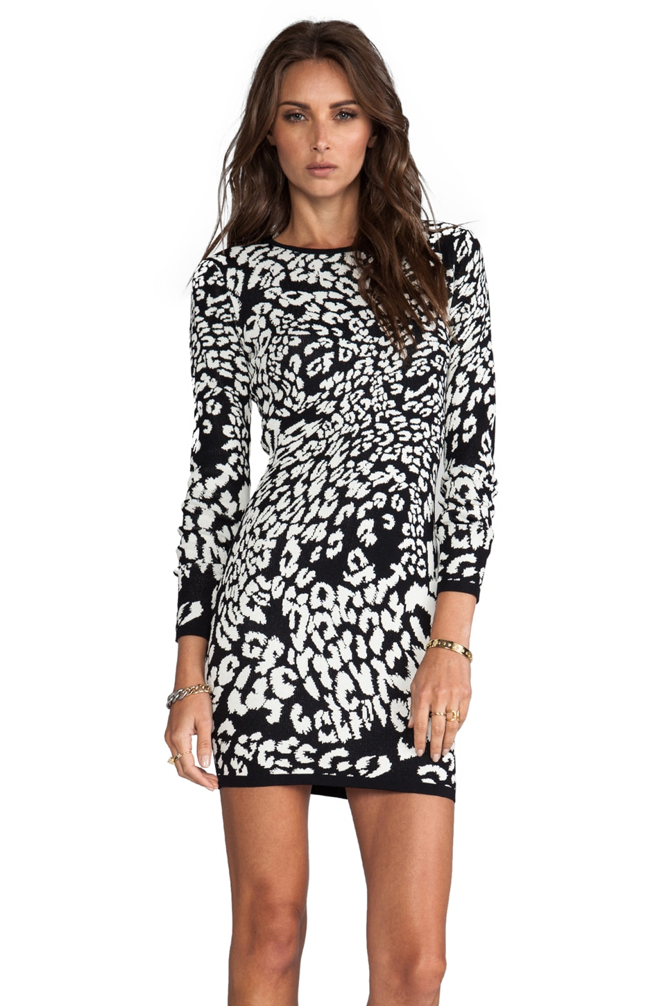 Bardot Long Sleeve Knit Dress in Leopard