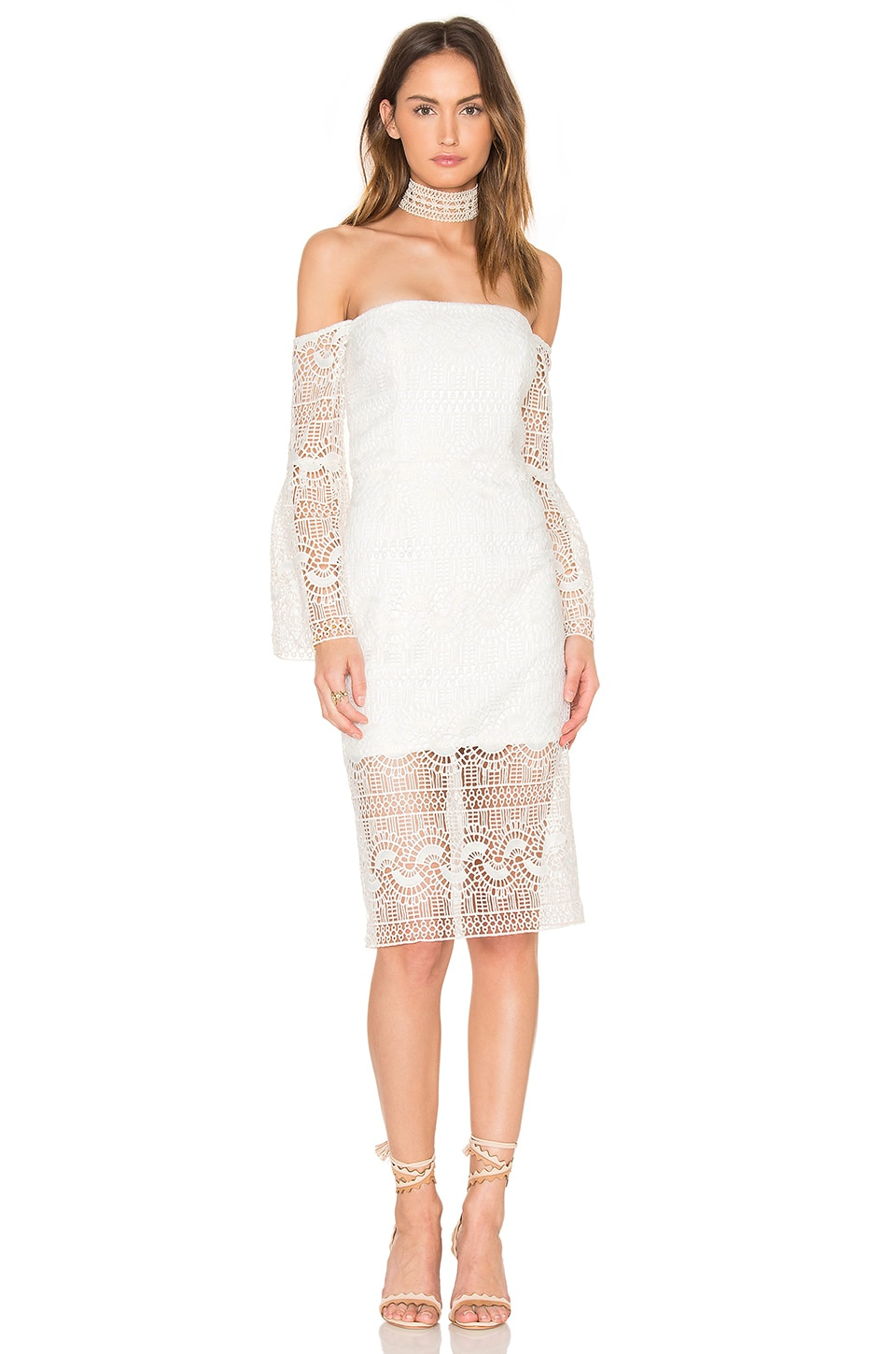 Bardot Geo Lace Dress in Ivory