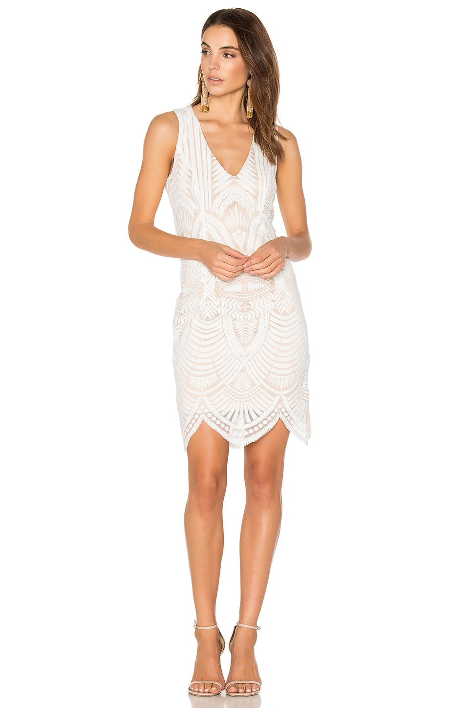 Bardot Embroidered Lace Dress in Ivory