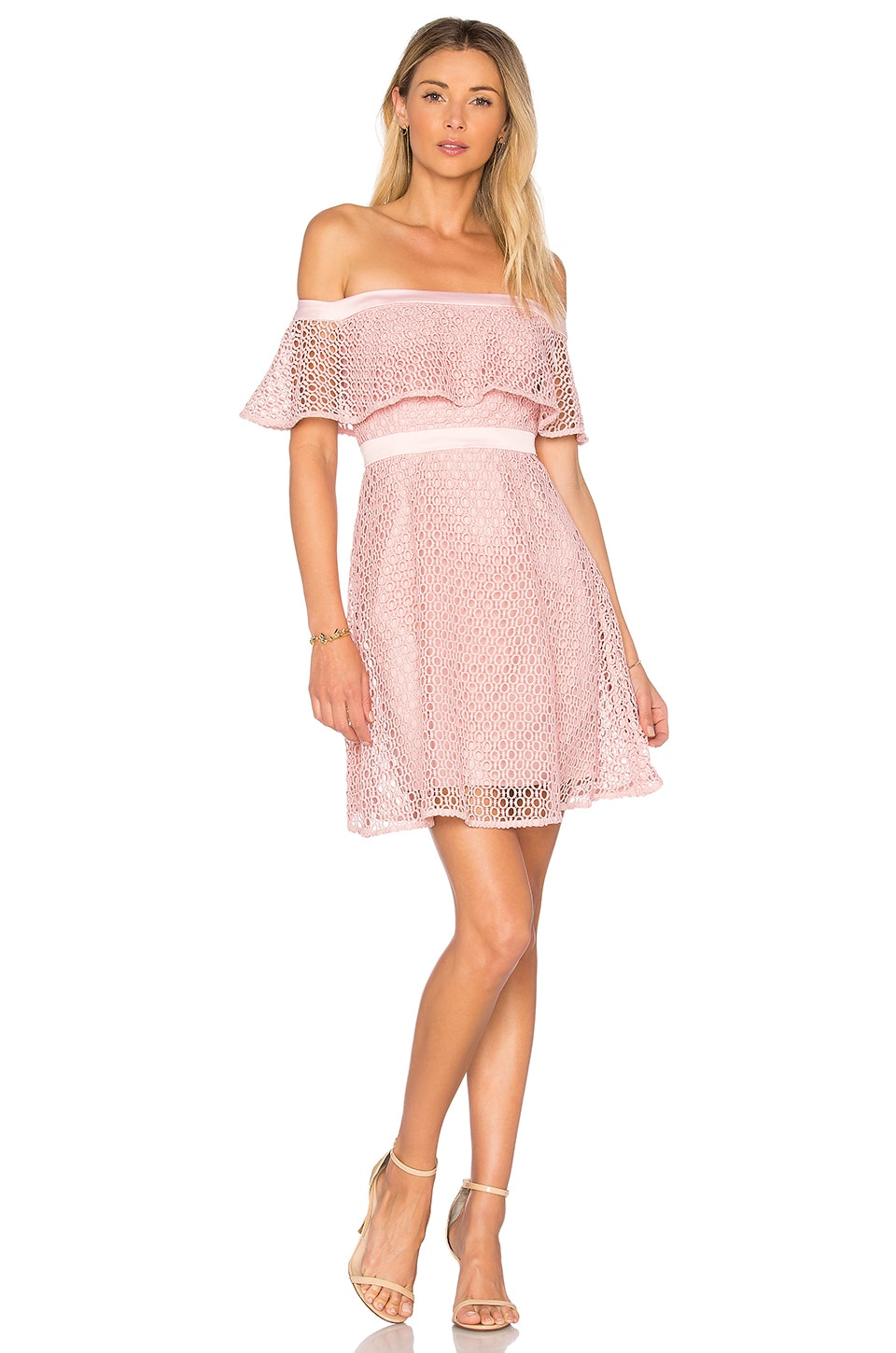 Bardot Off Shoulder Lace Dress in Petal