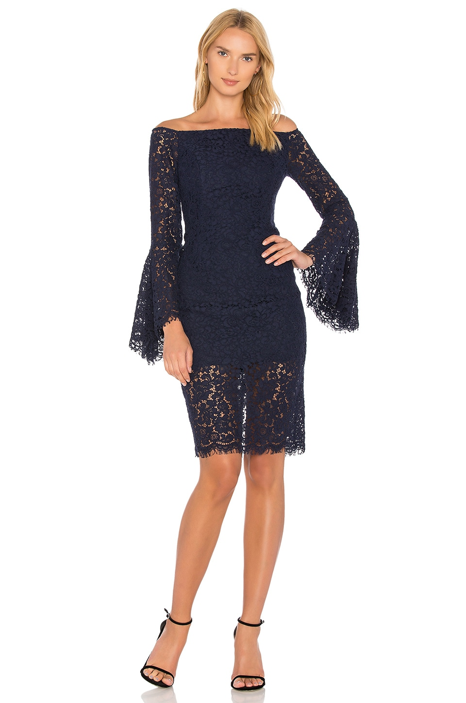 Bardot Solange Lace Dress in French Navy