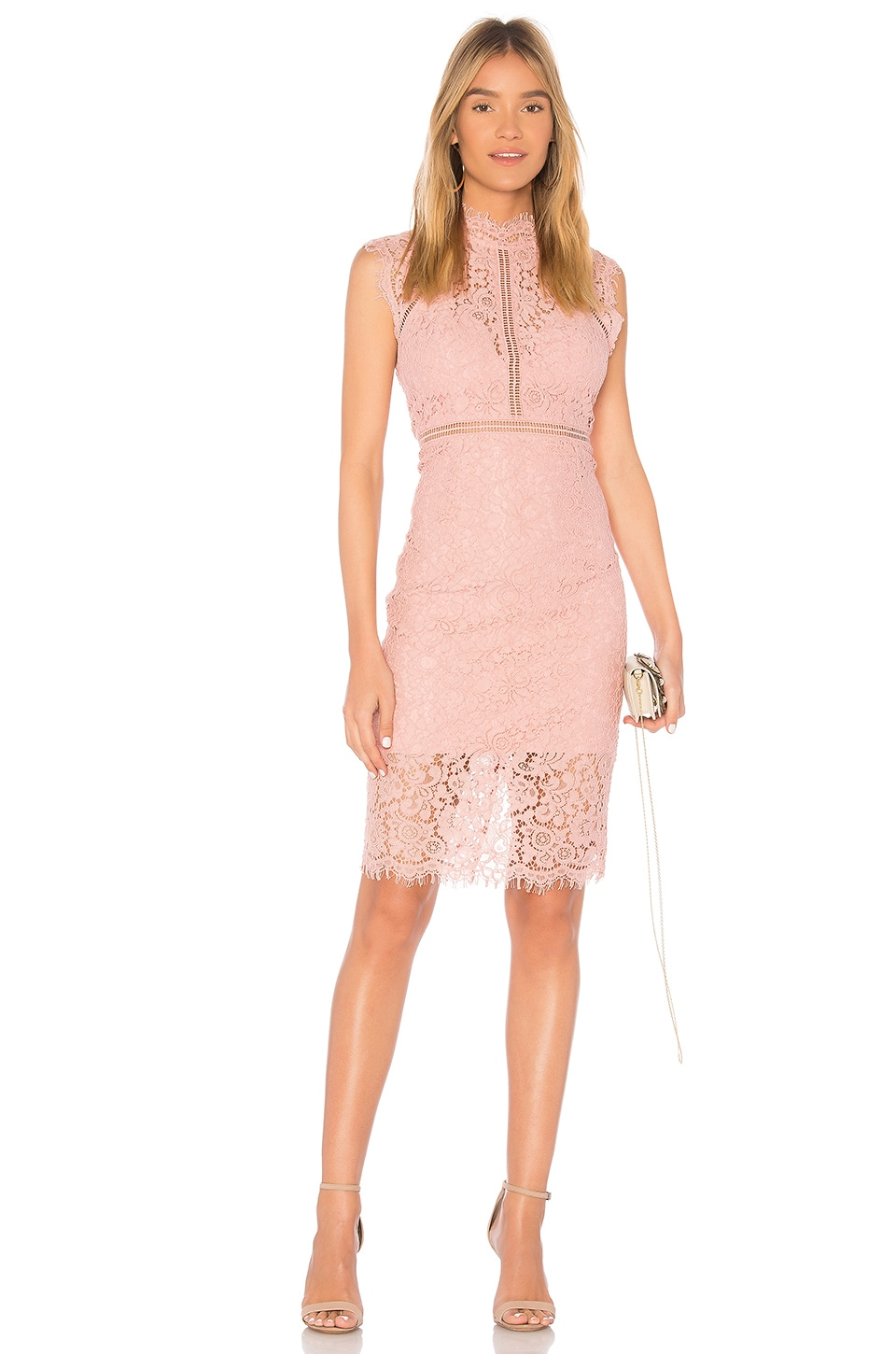 Bardot Lace Panel Dress in Pastel