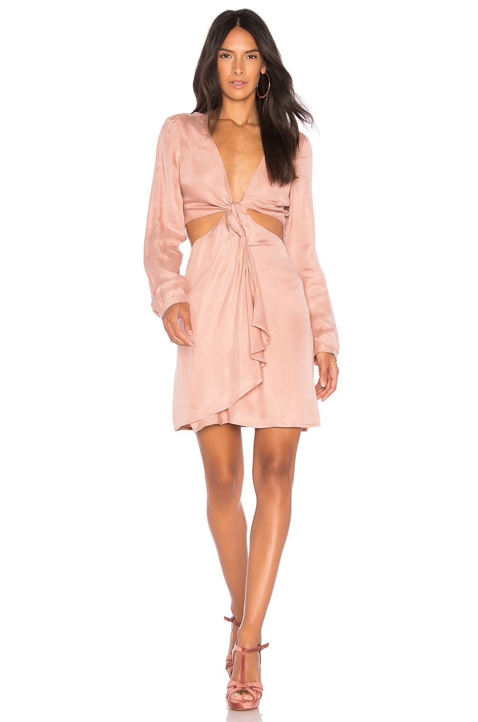 Bardot Twist Satin Dress in Ash Rose