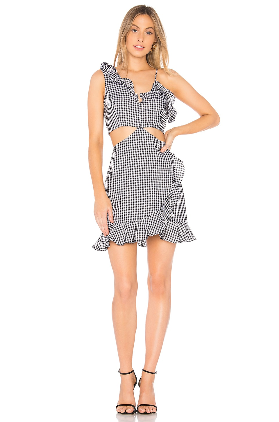 Bardot Jamie Cut Out Dress in Black Gingham