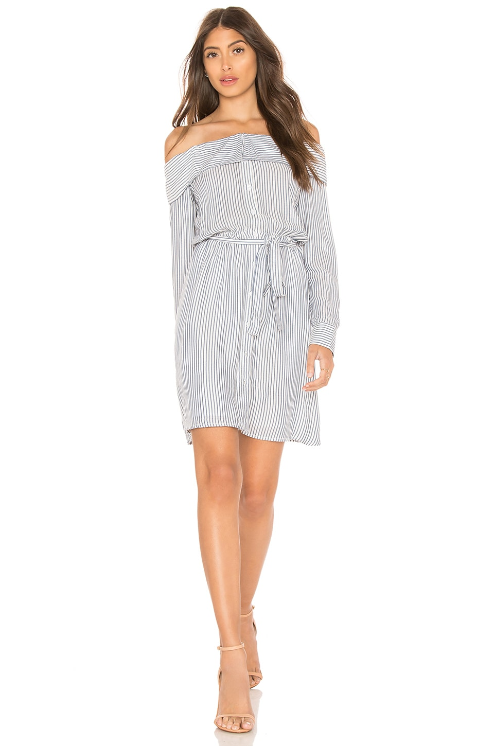 Bardot Sienna Shirt Dress in Blue & White