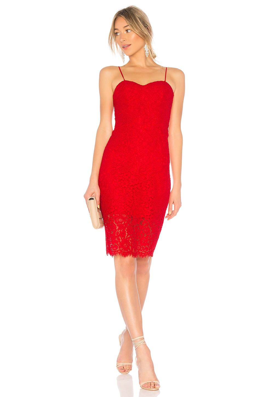 Bardot Pierre Lace Dress in Lava