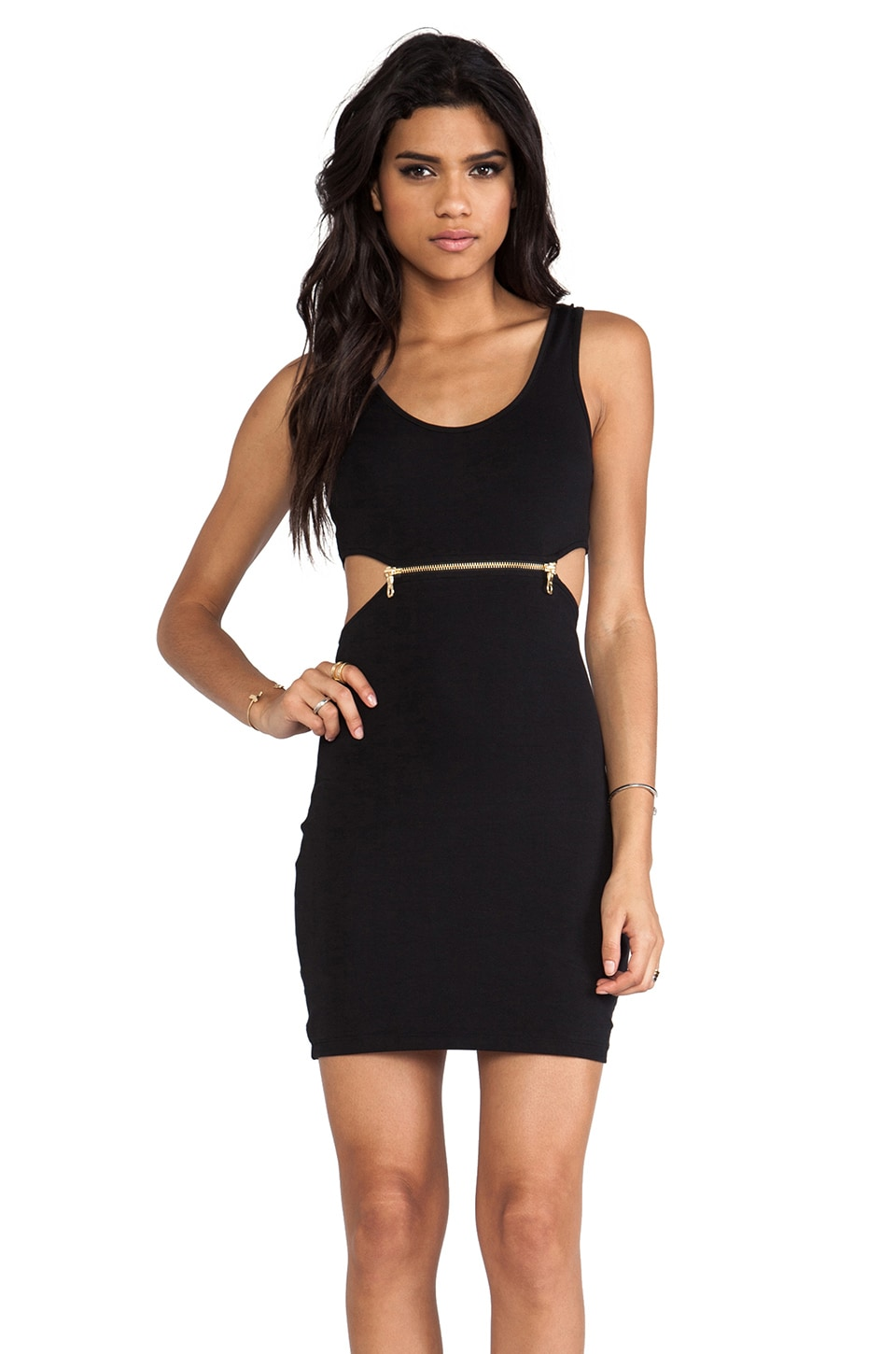 Bardot Zipper Cut Out Dress in Black
