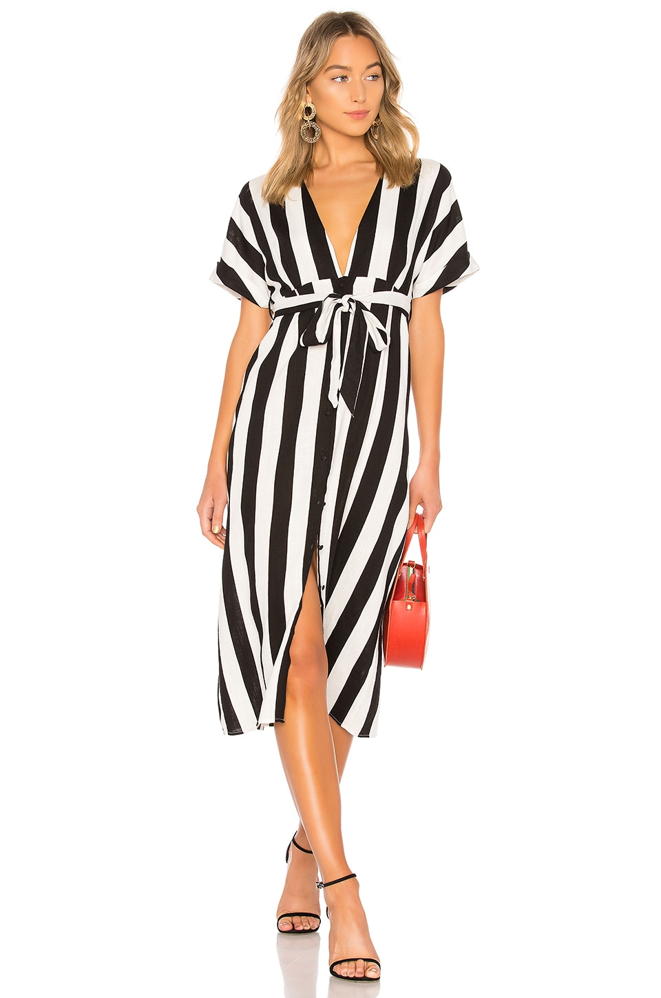 Bardot Adley Buttoned Dress in Black & White