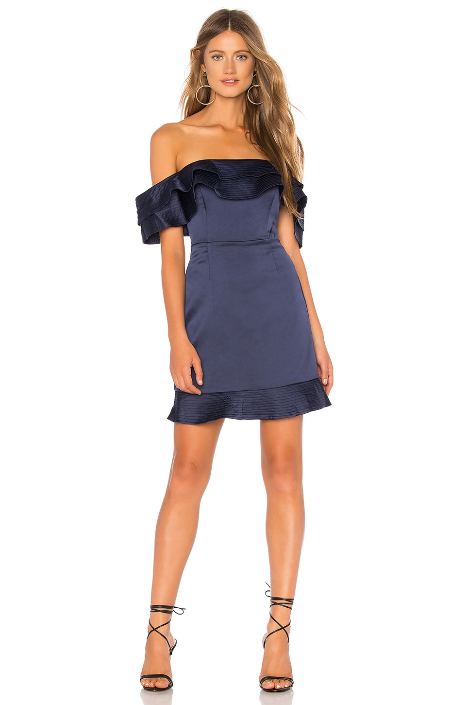 Bardot Athena Frill Dress in Deep Navy