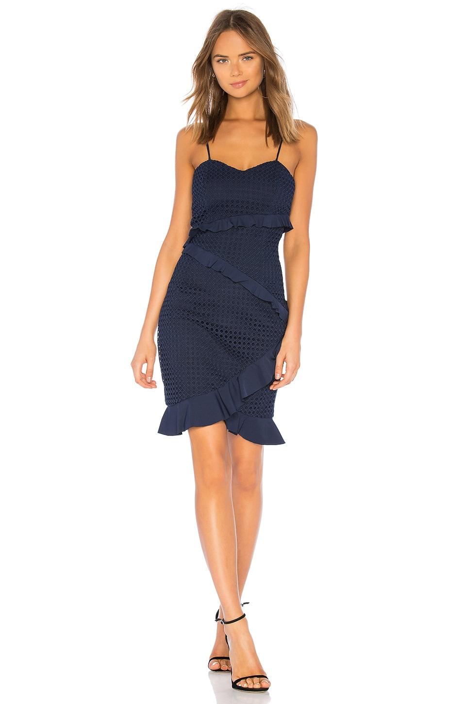 Bardot Fae Lace Dress in Deep Navy