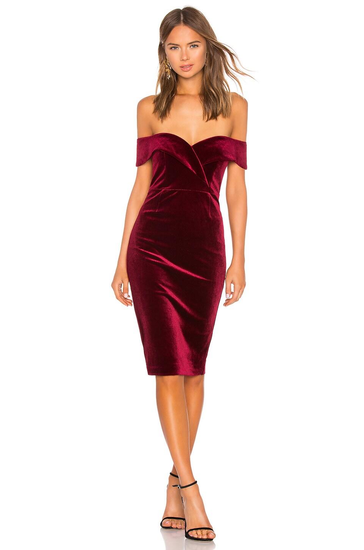 Bardot Bella Velvet Dress in Cabernet