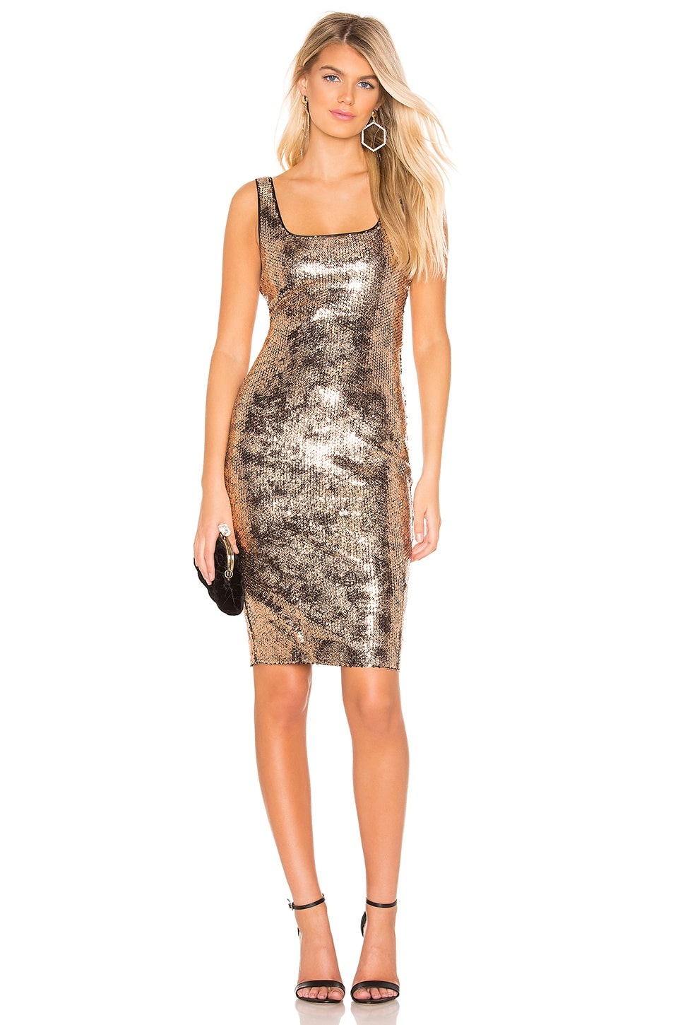 Bardot Neve Dress in Gold Foil Sequin