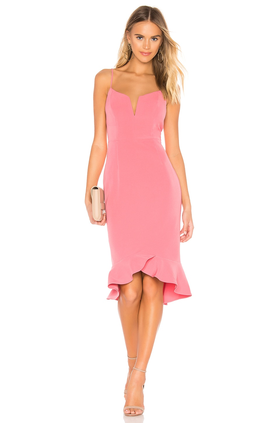 Bardot Kristen Peplum Dress in Melon