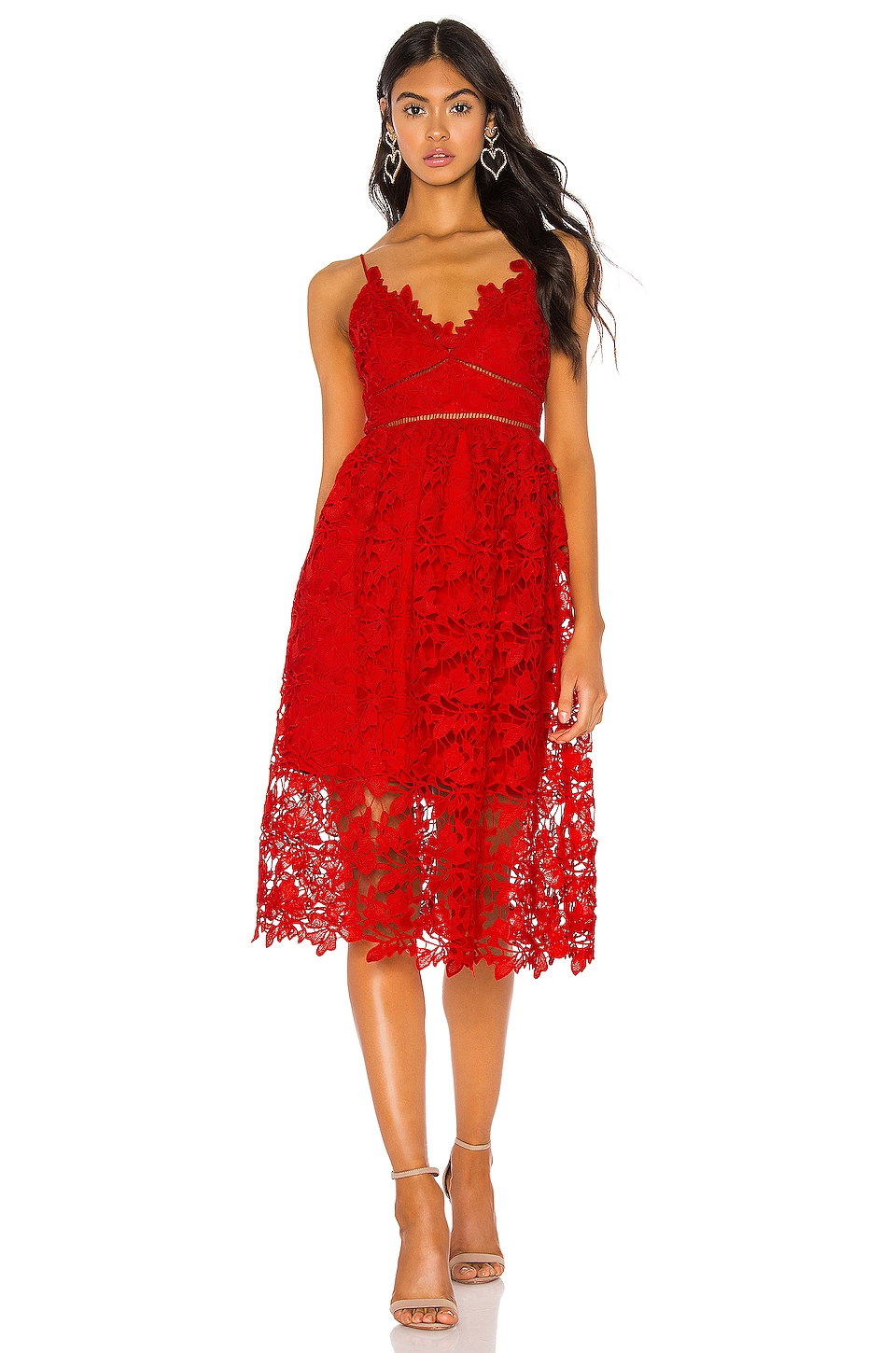 Bardot Sonya Lace Dress in Fire Red