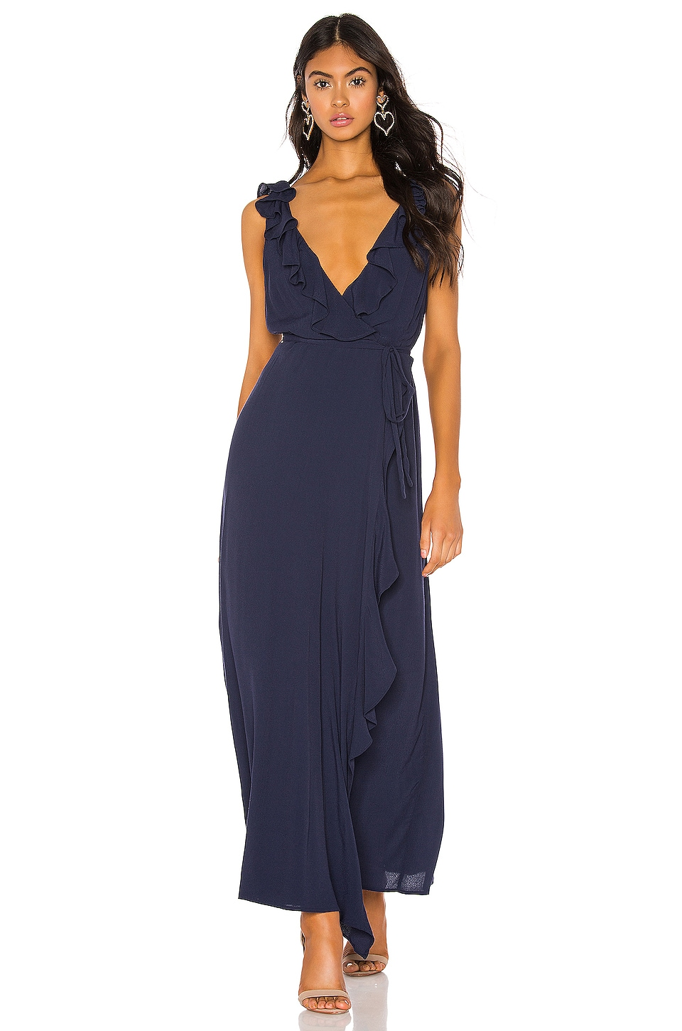 Bardot Alex Ruffle Dress in French Navy