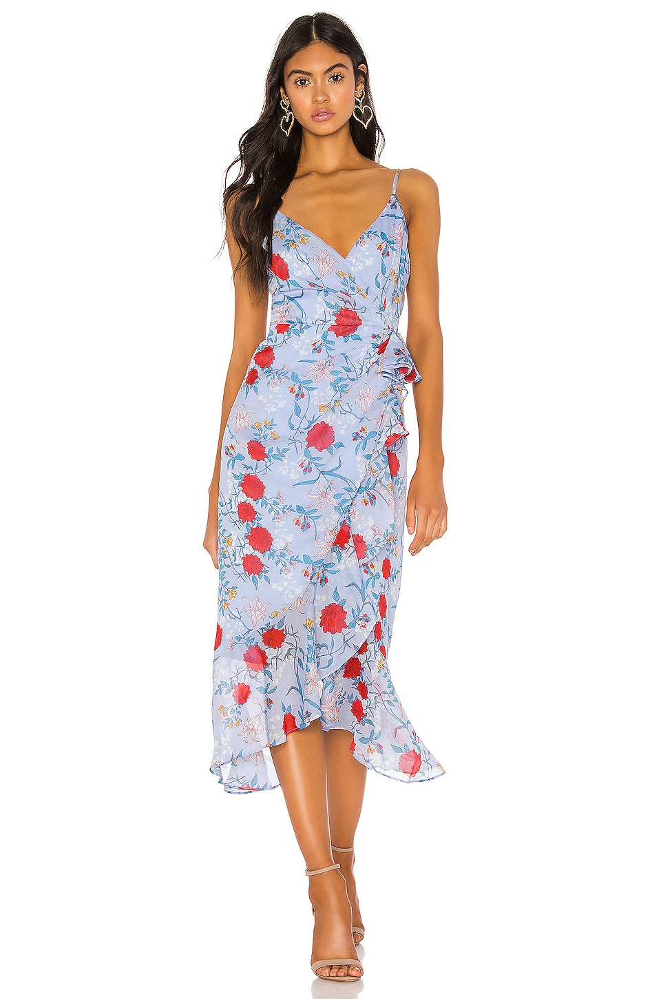 Bardot Dress in Blue & Red Floral