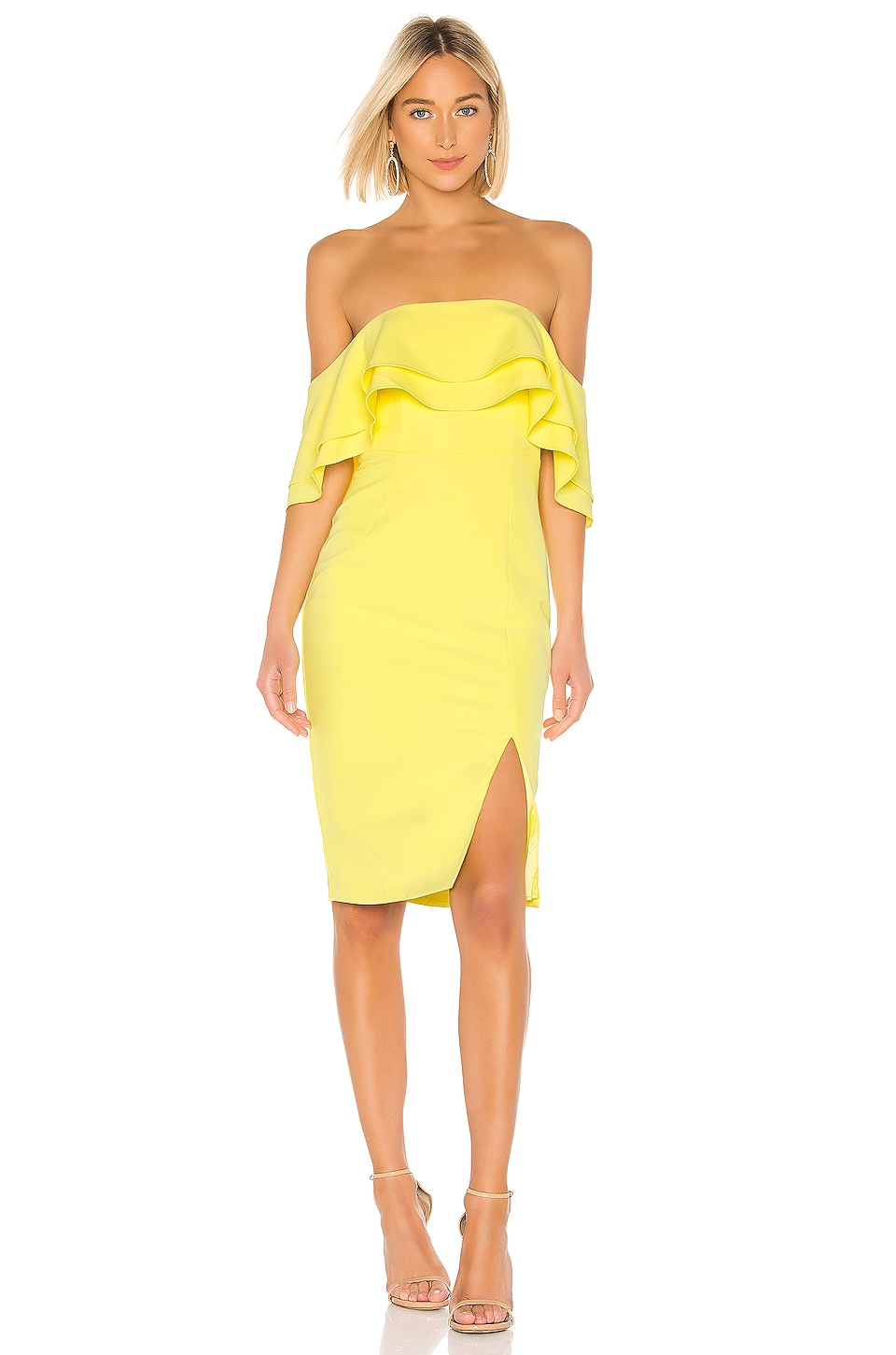 Bardot Band Dress in Lemon Drop