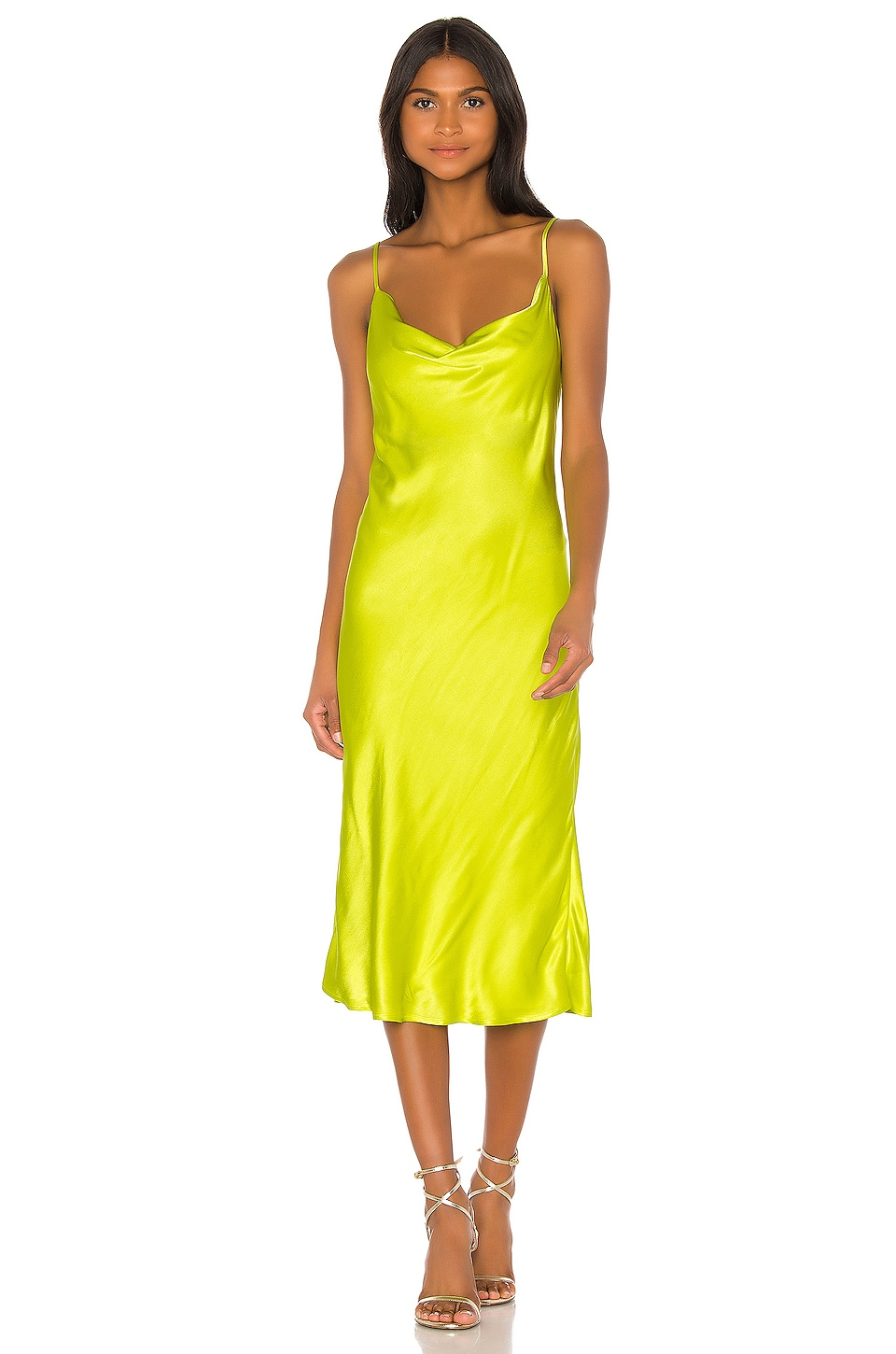 Bardot Sharnie Slip Dress in Neon Green