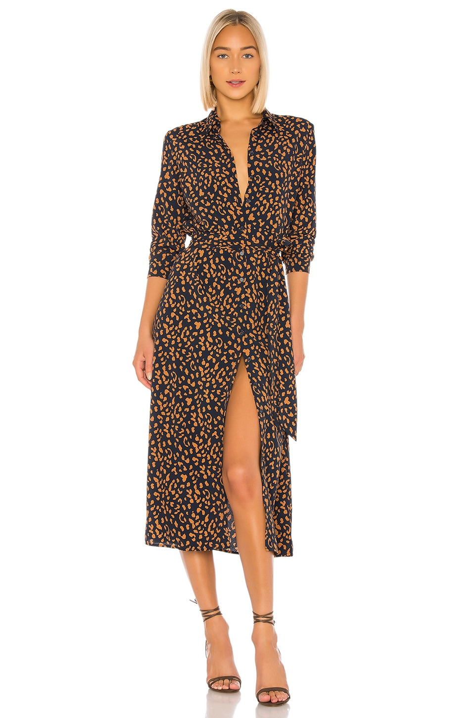 Bardot Leopard Shirt Dress in Navy Leopard