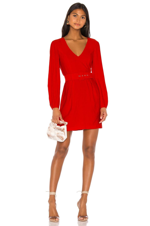 Bardot Power Sleeve Dress in Fire Red