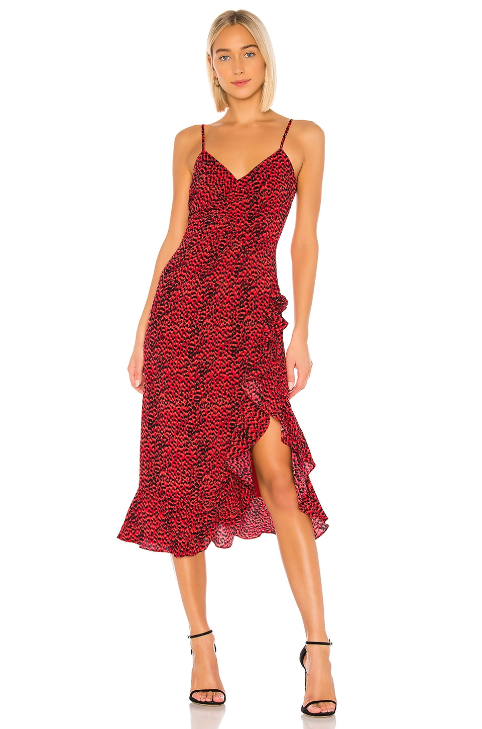 Bardot Lexie Midi Dress in Red Leopard