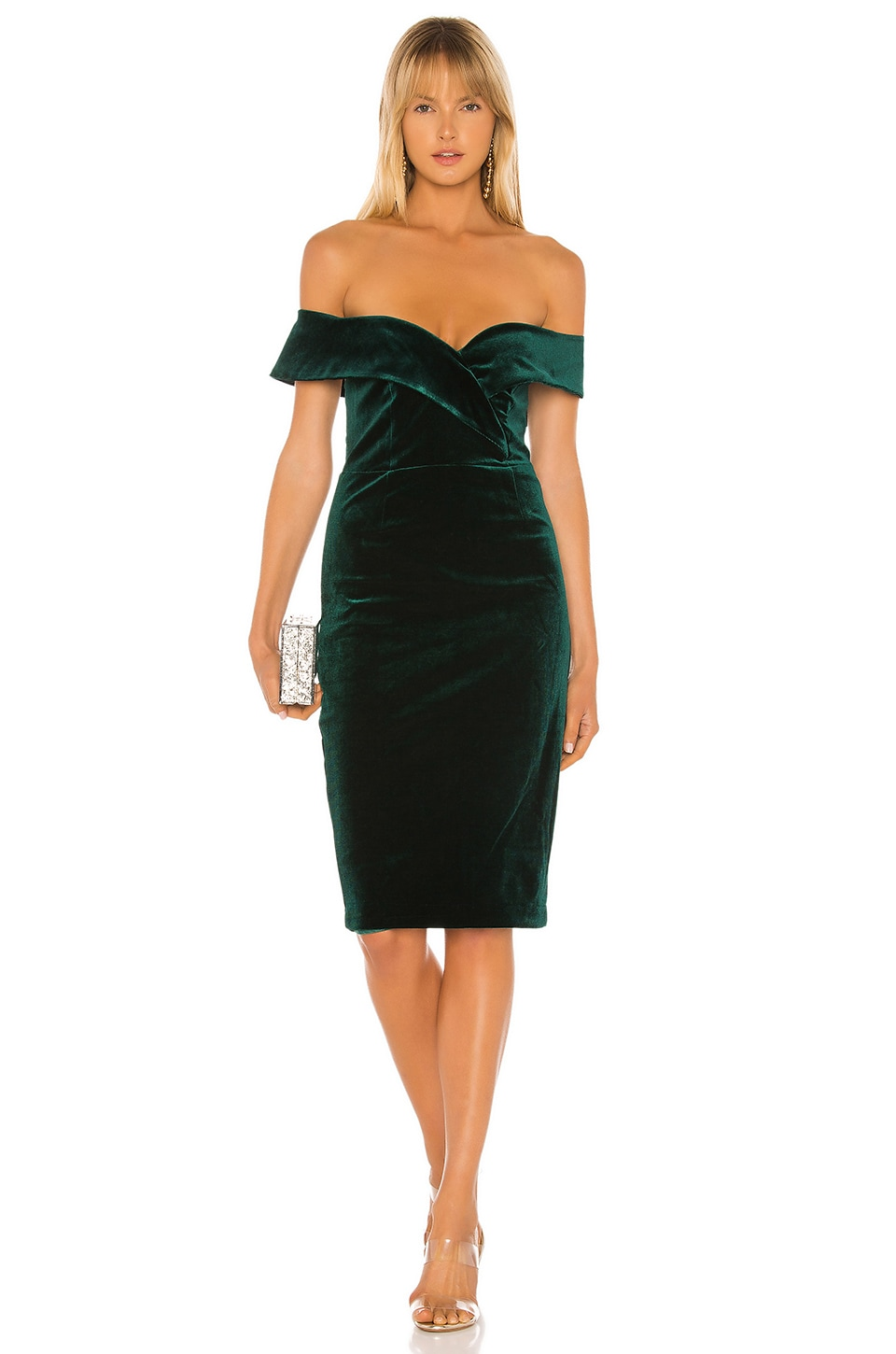 Bardot Bella Velvet Dress in Dark Green