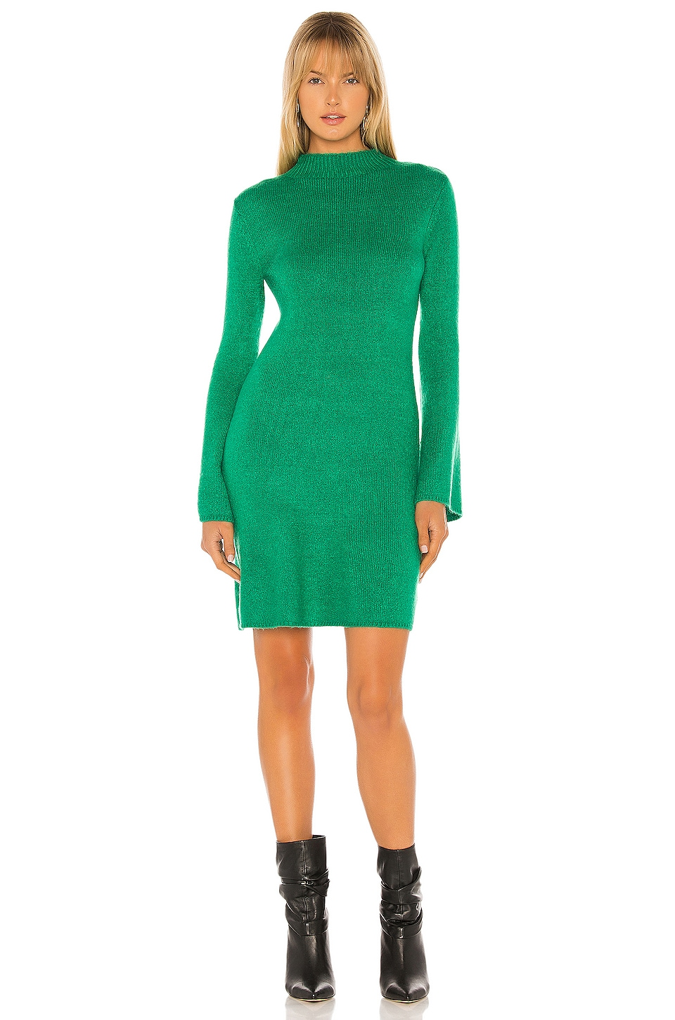 Bardot Knitted Dress in Bright Green