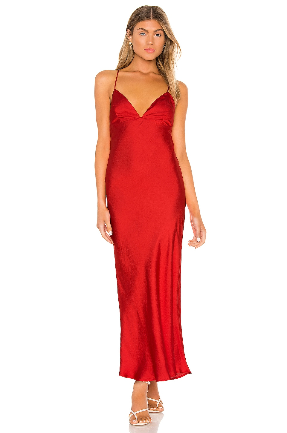 Bardot Jassie Slip Dress in Fire Red
