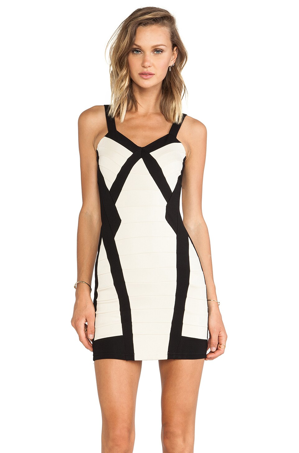 Bardot Uptown Dress in Black/Nude