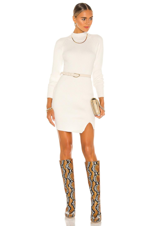 Bardot Mini Rib Knit Dress in Ivory
