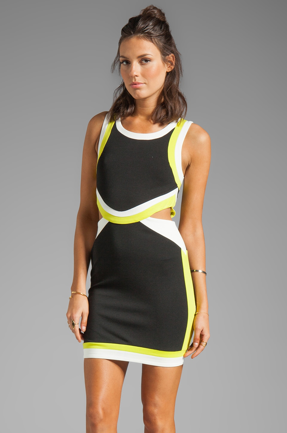Bardot Scuba Contrast Dress in Black/Lime/White