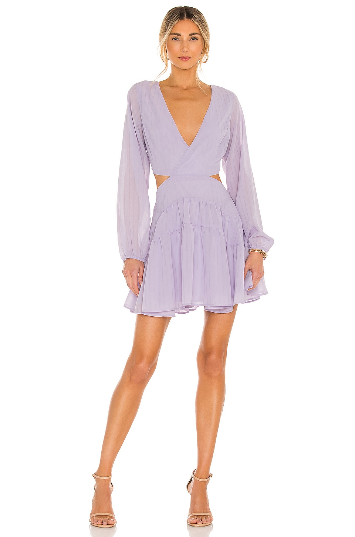Bardot Cut Out Frill Dress in Lilac